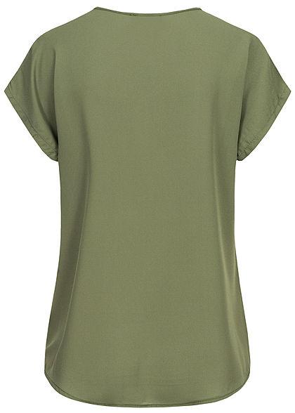 Styleboom Fashion Damen V-Neck Chiffon Blusen Shirt Spitzeneinsatz khaki grün