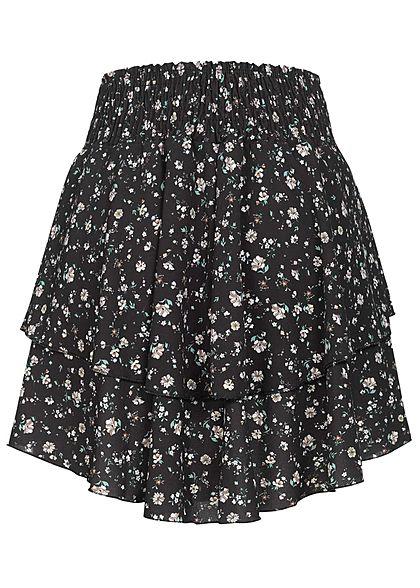 Styleboom Fashion Damen Mini Stufenrock Blumen Ditsy Print schwarz weiss