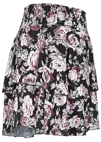 Styleboom Fashion Damen Mini Stufenrock Rosen Print schwarz rosa