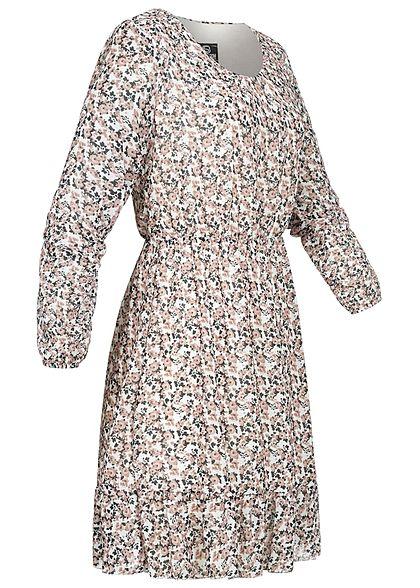 Styleboom Fashion Damen Mini V-Neck Stufenkleid Blumen Print weiss