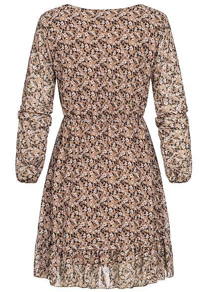 Styleboom Fashion Damen Mini V-Neck Stufenkleid Blumen Print beige