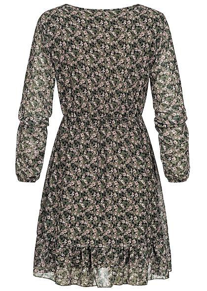 Styleboom Fashion Damen Mini V-Neck Stufenkleid Blumen Print balsam grün