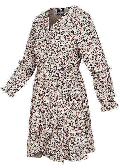 Styleboom Fashion Damen Mini V-Neck Wickelkleid inkl. Bindegürtel Blumen Print weiss