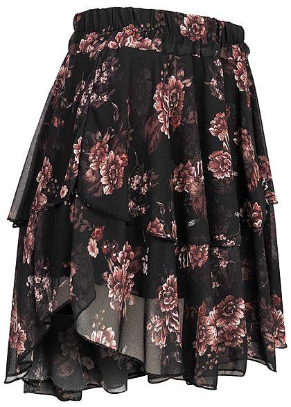 Styleboom Fashion Damen Mini Stufenrock Blumen Print schwarz rosa rot