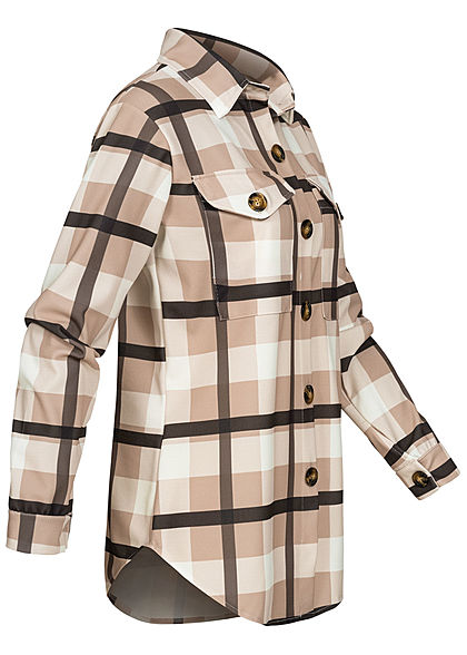 Styleboom Fashion Damen1 Flanell Langarm Bluse Karo Muster beige off weiss