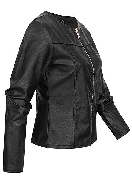 Styleboom Fashion Damen kurze Kunstleder Jacke Bodyfit schwarz
