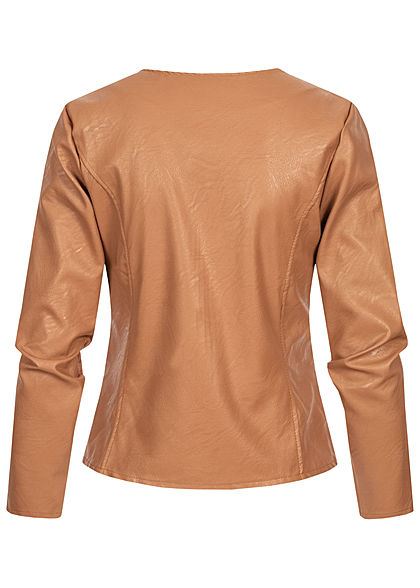 Styleboom Fashion Damen kurze Kunstleder Jacke Bodyfit camel braun
