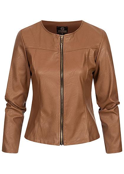 Styleboom Fashion Damen kurze Kunstleder Jacke Bodyfit cognac braun