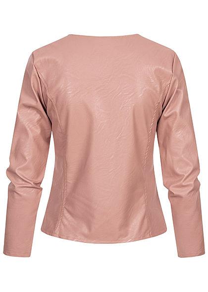 Styleboom Fashion Damen kurze Kunstleder Jacke Bodyfit old rosa