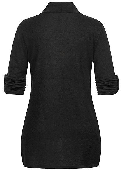 Styleboom Fashion Damen Turn-Up Cardigan 2-Pockets schwarz