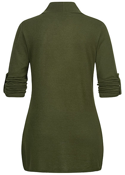 Styleboom Fashion Damen Turn-Up Cardigan 2-Pockets khaki grün