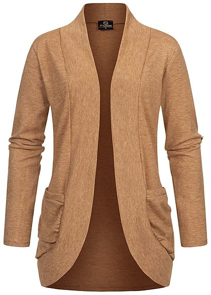 Styleboom Fashion Damen Turn-Up Cardigan 2-Pockets camel braun