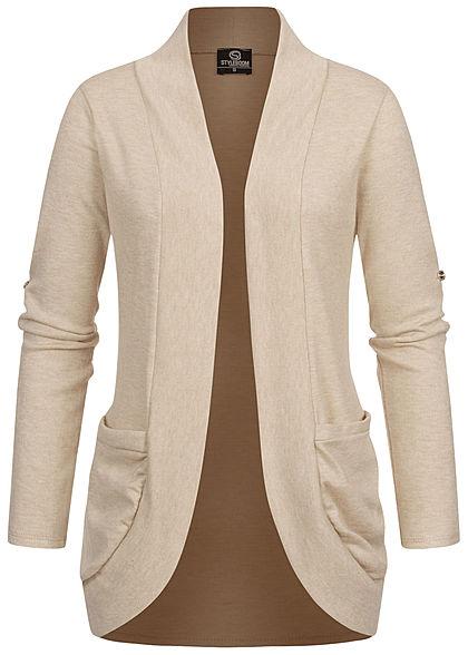 Styleboom Fashion Damen Turn-Up Cardigan 2-Pockets beige
