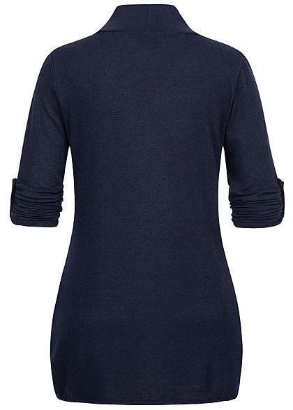 Styleboom Fashion Damen Turn-Up Cardigan 2-Pockets navy blau