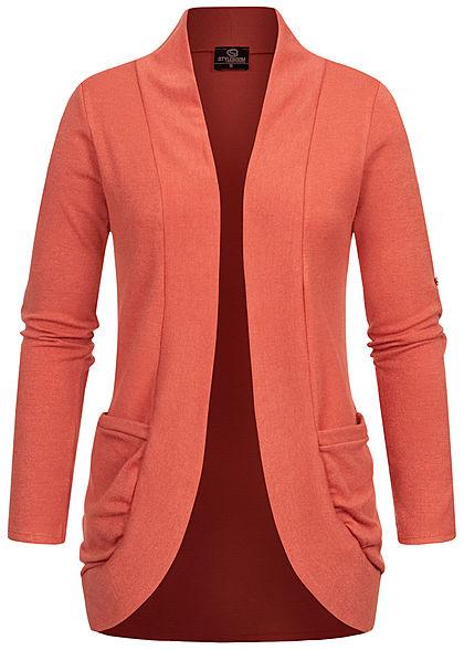 Styleboom Fashion Damen Turn-Up Cardigan 2-Pockets burlwood rosa