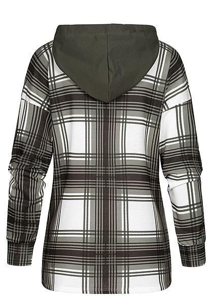 Styleboom Fashion Damen Backside All Over Checked Hoodie Karo Muster khaki grün