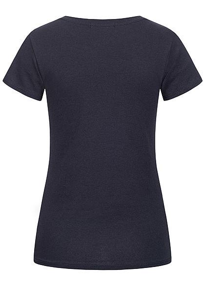 Styleboom Fashion Damen T-Shirt Anker Print navy blau weiss