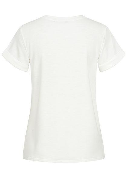 Styleboom Fashion Damen T-Shirt Woman Print weiss rosa