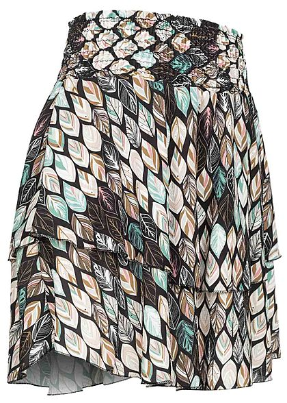 Styleboom Fashion Damen Mini Stufenrock Blätter Print schwarz multicolor