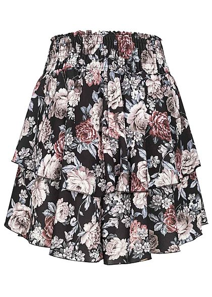 Styleboom Fashion Damen Mini Stufenrock Rosen Muster schwarz braun