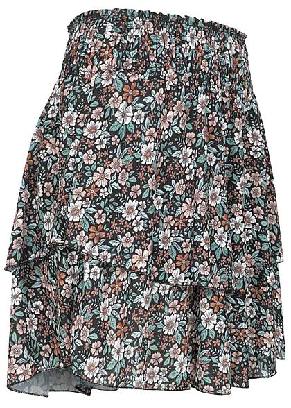 Styleboom Fashion Damen Mini Stufenrock Blumen Muster schwarz multicolor