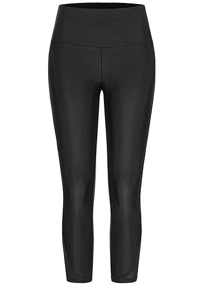 Urban Classics Damen Ribbed High-Waist Ankle Leggings breiter Bund schwarz
