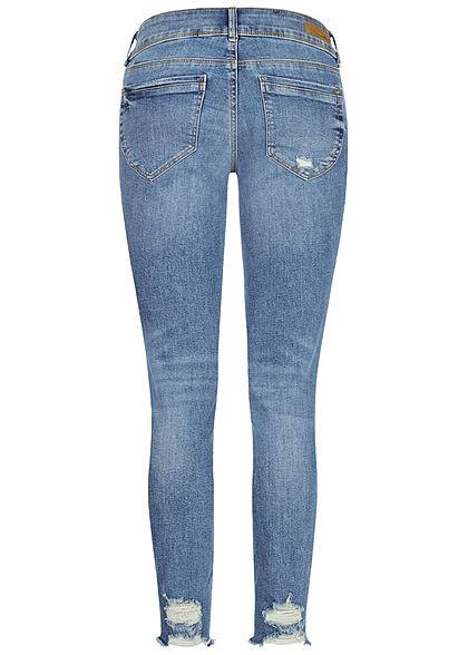 Tom Tailor Damen Extra Skinny Jeans Hose 5-Pockets Heavy Destroy Look used mid blau den