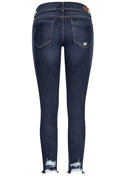 Tom Tailor Damen Extra Skinny Jeans Hose 5-Pockets Heavy Destroy Look used dunkel blau