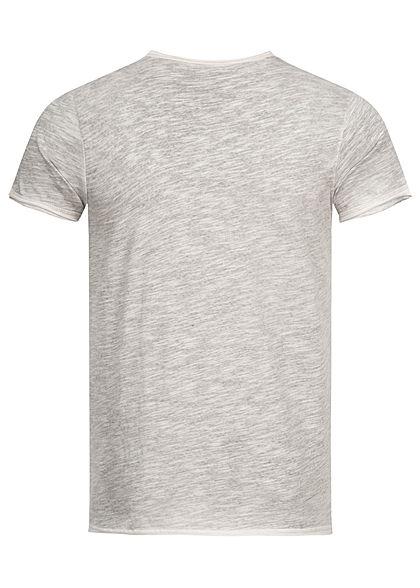 Stitch & Soul Herren V-Neck T-Shirt mit speziellen Farbeffekt hell sand beige