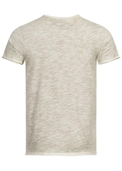 Stitch & Soul Herren V-Neck T-Shirt mit speziellen Farbeffekt ivy oliv grün