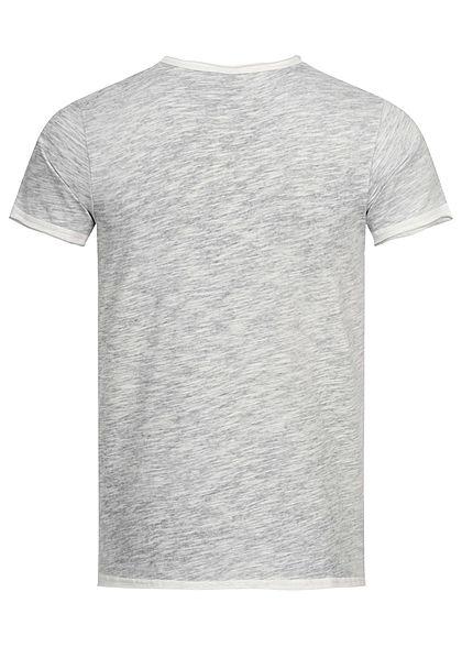 Stitch & Soul Herren V-Neck T-Shirt mit speziellen Farbeffekt navy blau