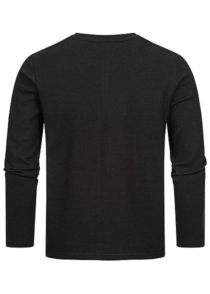 Eight2Nine Herren Struktur Sweater Pullover mit Patch schwarz