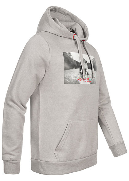 Eight2Nine Herren Sweat Hoodie Kapuze Fotoprint Kängurutasche by Sky Rebel dawn grau