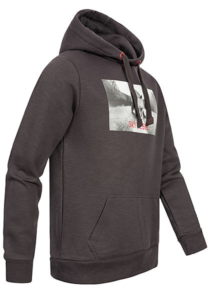 Eight2Nine Herren Sweat Hoodie Kapuze Fotoprint Kängurutasche by Sky Rebel anthrazit d. grau