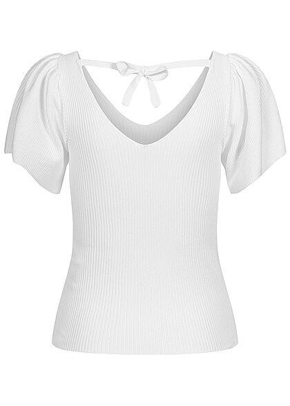 ONLY Damen NOOS Ribbed V-Neck Fledermausarm Shirt mit Schnürdetail hinten eggnog