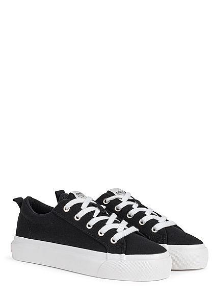 ONLY Damen Schuh Canvas Sneaker Palateau Sohle 4cm schwarz