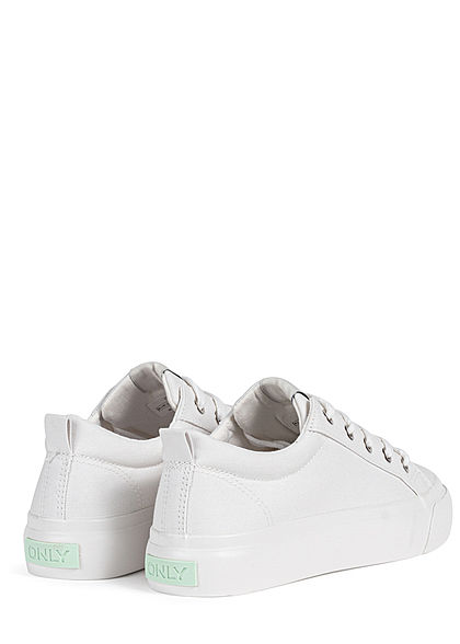 ONLY Damen Schuh Canvas Sneaker Palateau Sohle 4cm weiss