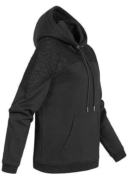 Urban Classics Damen Hoodie mit Spitzenbesatz schwarz