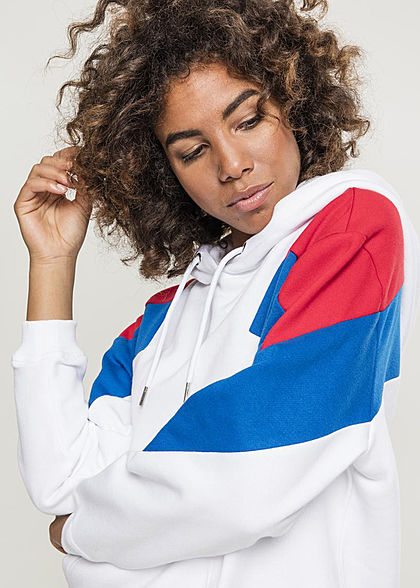 Urban Classics Damen Oversize Colorblock Hoodie 3-Tone weiss fire rot blau