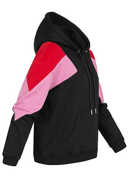 Urban Classics Damen Oversize Colorblock Hoodie 3-Tone schwarz fire rot pink