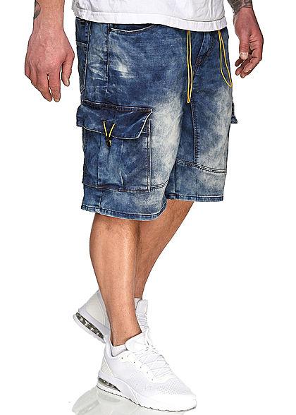 Urban Surface Herren Cargo Bermuda Jeans Shorts 7-Pockets Kontrastkordel med. blau den