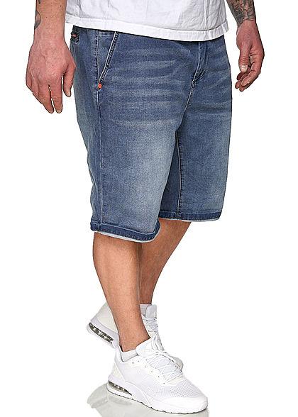 Sublevel Herren Chino Shorts mit Beinumschlag & 2 Taschen medium blau denim
