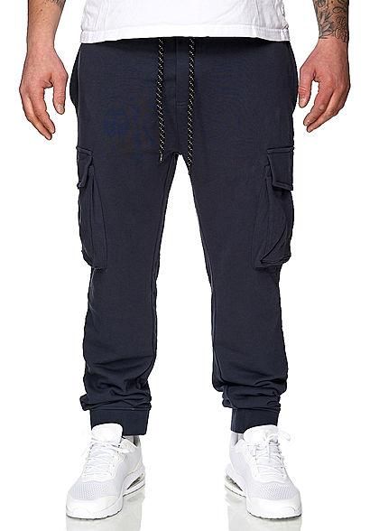 Sublevel Herren Cargo Sweat Pants Stoffhose Tunnelzug Rippbündchen indigo blau