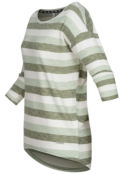 Hailys Damen 3/4 Arm Vokuhila Shirt Streifen Muster khaki grün