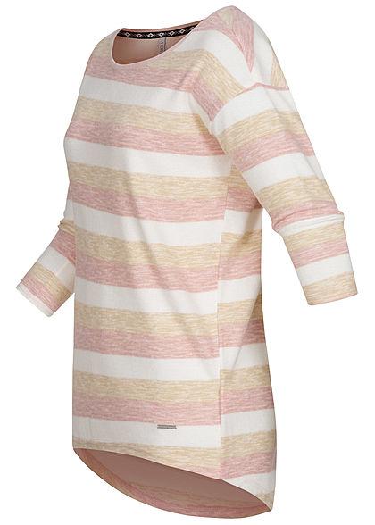 Hailys Damen 3/4 Arm Vokuhila Shirt Streifen Muster rosa weiss braun