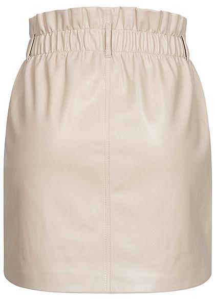 ONLY Damen Mini Paperbag Kunstleder Rock 2-Pockets pumice stone beige