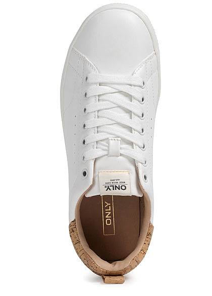 ONLY Damen Schuh Kunstleder Sneaker mit Korkdetail hinten zum schnüren weiss braun
