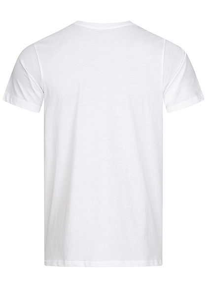 Stitch & Soul Herren T-Shirt Strand Print vorne weiss
