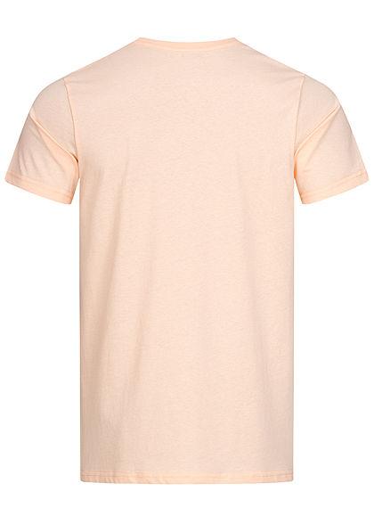 Stitch & Soul Herren T-Shirt Strand Print vorne hell peach orange