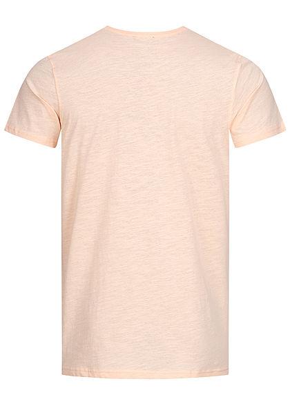 Stitch & Soul Herren T-Shirt Sommer Spruch Print vorne hell peach orange